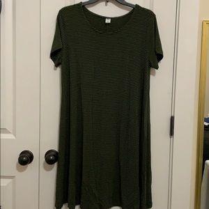 Striped Short Sleeve Swing Dress